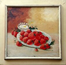 Strawberries and cream. Vintage Original Oil on Canvas Painting Signed N. Ozgan