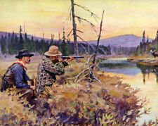 Hunting Moose Rifle Forest Near River Landscape Painting Real Canvas Art Print