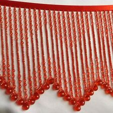 Medium Red beaded fringe with a design in the middle  #114