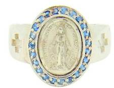 MRT Miraculous Mary Medal Ring Sterling Silver w 23 CZ Saphires Sizes 5-8 Boxed