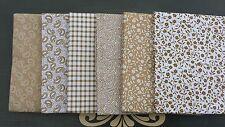 NUOVO 6 PZ Bundle beige tessuto di cotone Lotto Misto Craft scarti Paisley Quilting