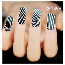 New Fashion Water Transfer Zebra Strip Decal Women Stickers Nail Art Tips DIY