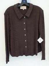 "NEW DOUBLE D RANCHWEAR LONG SLEEVE SLINKY ""BIG SHIRT""  COLOR ""FUDGE"" SIZE MEDIUM"