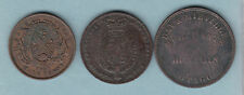 New Zealand - 1d Tokens. 1862 DeCarle, 1857 Day & Mieville. & Canada 1/2d token