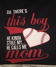 @ New So There's This Boy Who Stole My Heart Baseball Mom T-shirt (men's Sizing)