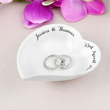 PERSONALISED Heart Ring Dish - Wedding Gift Trinket Plate Bowl Jewellery Holder