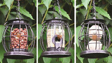 Pre-Filled Set of 3 Hanging Lantern Wild Bird Feeders Seeds Nuts Fat Balls