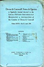 DEVON & CORNWALL NOTES & QUERIES (April 1958) - CHAGFORD -  ANIMAL GHOST SYMBOLS