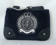 JUICY COUTURE BAG, ICONIC CREST VELOUR FLAT CROSSBODY BAG