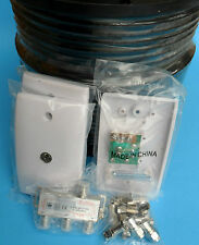 TV Antenna KIT RG6 QUAD Digital Coax Cable 100m + 3 Way splitter + Wall plates