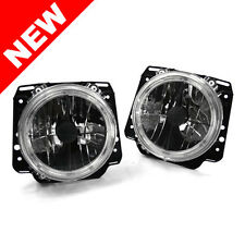 "85-92 VW GOLF MK2 E-CODE 7"" ROUND ANGEL EYE CROSSHAIR HEADLIGHTS - CRYSTAL CLEAR"