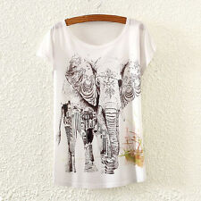 New Vintage Fashion Summer Women Short Sleeve Elephant Print T Shirt Tops Tee