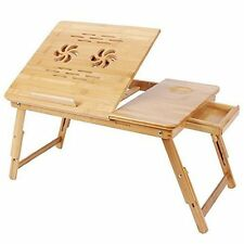 Solid Bamboo Foldable Study Computer PC Table with Ventilation Holes in Natural