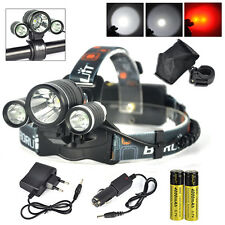 8000lm XM-L T6+2R5 Red 3-LED Headlamp Front Bicycle Head Torch 18650 Lamp+Charge