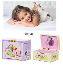 Traditional Clockwork Pink Music Box With Rotating Fairy Trinket Girls Gift Toys