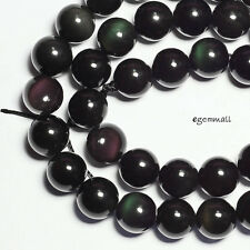 "15.5"" Black Rainbow Obsidian Round Beads 10mm #89046"
