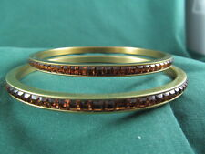 2 HEIDI DAUS Golden Color Square Cut Crystal Bangle Bracelets NWOT   M/L