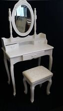 NEW 3 DRAWER FRENCH PROVINCIAL COUNTRY DRESSING TABLE DESK MIRROR & FREE STOOL