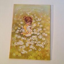 Vintage Greeting Card Birthday Cute Girl Daisy Field Flowers