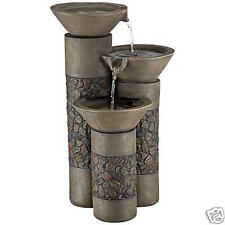 New 3 Tiered Stone Finish Contemporary Style Outdoor Water Fountain