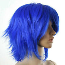 COSPLAY Short Wig LAYERED BLUE FLIP OUT STYLE W#612