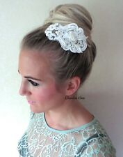 Ivory Pearl Beaded Rose Lace Vintage Hair Clip Comb Choochie Choo Bride Bridal