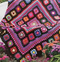 Lovely Granny Square Masterpiece Afghan Throw Blanket Vintage Crochet Pattern