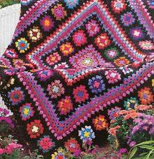Crochet Pattern Afghan Throw Blanket Vintage Granny Square Masterpiece