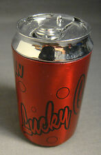 LUCKY COLA SODA CAN LOGO RED & BLACK REFILLABLE BUTANE CIGARETTE LIGHTER 2.75""
