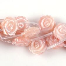 1034 12mm Mother of pearl MOP shell flower loose beads 15pcs (both sides carved)