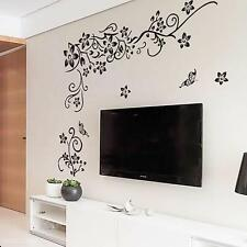 Romantic Art Wall Decal Black Flower Rattan Paster Wedding Removable Sticker New