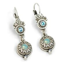 NWT SWEET ROMANCE VICTORIAN STYLE ROSETTE LEVERBACK EARRINGS PACIFIC BLUE