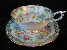 PARAGON BONE CHINA FOOTED TEA CUP & SAUCER SET LIME GREEN FLORAL GOLD ENGLAND