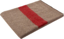 "Tan & Red Swiss Army Style European Wool Blanket - 62"" x 80"""