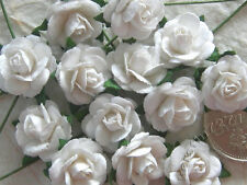 100 Cute Handmade Mulberry Paper Roses - 10MM - Lovely White Rose Embellishments