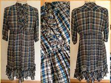 Mexx Kleid blau grau kariert tailliert Volant Stil Gr S 36 Top Zustand