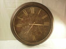 """23"""" Wrought Iron Clock, Antique Finish, With Temp and Humidity Gauges"""