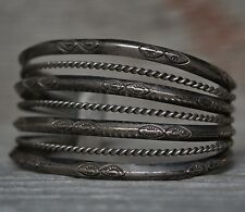 Old Pawn Native American Wide Hand Stamped Split Shank Sterling Cuff Bracelet