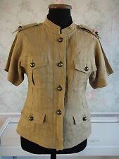 Neue MAX MARA 100% Leinen Kragenlose Safari Jacke D 38 IT 42 100% Linen Jacket