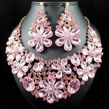 PINK DAISY AUSTRIAN RHINESTONE CRYSTAL BIB NECKLACE EARRINGS SET PROM N989GOLD