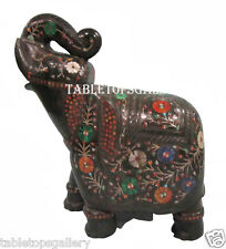 "9.5"" Black Marble Elephant Sculpture Mosaic Inlay Marquetry Table Decor H2531"