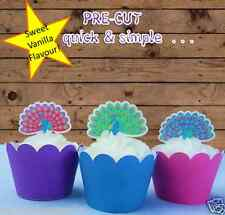 peacocks Edible Wafer Cupcake Toppers Stand Up Pre-cut wedding birthday