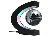 C Shape Levitation Floating Globe Rotating Magnetic World Map Colorful LED Lamp
