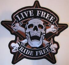 Rare Large Live Free Ride Free Motorcycle Biker Embroidered Sew On Badge Patch