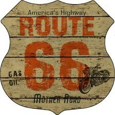 SUPERBE PLAQUE DECORATIVE-ROUTE 66- WOOD- DECORATION USA / BIKER
