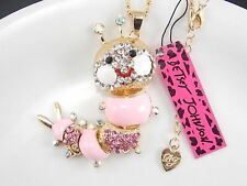Betsey Johnson fashion jewelry Rhinestones pink caterpillar pendant necklace