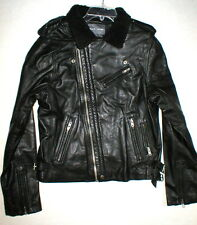 New NWT Mens Designer Slate & Stone Leather Shesrling Moto Jacket XL Black Silve