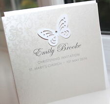10 Personalised Handmade Christen Baptism Communion Invitations Butterfly CI010