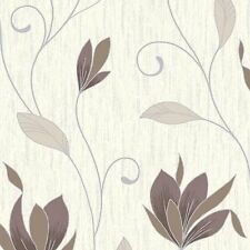 Chocolate Brown/Silver Glitter-M0780-Synergy Floral Textured Vymura WallpaperNEW