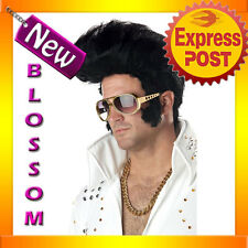 W83 Mens Rock and Roll Elvis Presley 1950s Black Adult Fancy Dress Costume Wig